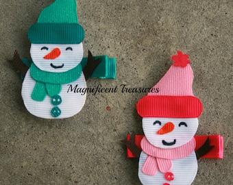 Snowman Ribbon Sculpture Hair Clip or Pin