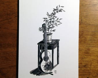"Guitar and plant on table - 5x7"" art print"