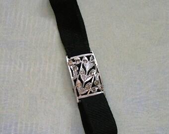 Antique Black Ribbon and Rhinestone Bracelet, Flapper Bracelet, Antique Snap Bracelet, Old Rhinestone Bracelet, 1920's Bracelet  (#3070)