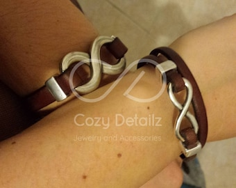 couples infinity bracelets, infinity leather bracelet, couples jewelry, boyfriend girlfriend gift, couples personalized bracelets