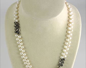 Cultured Pearl and Pyrite Necklace