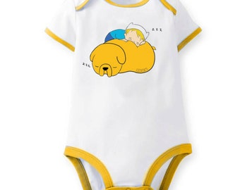 Adventure Time Sleeping Baby Finn and Jake Bodysuit Romper One Piece
