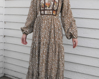 Prairie Dress 70s Folk Floral Brown  Country Print XS Vintage
