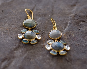 Blue Topaz and Labradorite Dangle Earrings