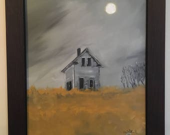 """Oil Painting - *Unframed Original* - """"Abandoned House in Wheat Field"""""""