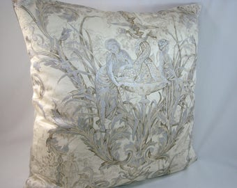 Silver Metallic Toile de Jouy Pillow Grey Pillow  18x18