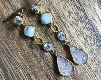 Druzy Teardrop Moonstone CZ Chandelier Statement Earrings/ Natural Gemstone Druzy Stone Dangle Drop Chandelier Moonstone (EPJ-EHC10)