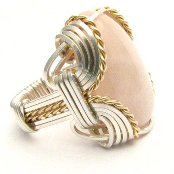 Handmade Wire Wrap Sterling Silver/14kt Gold Filled Rose Quartz Ring