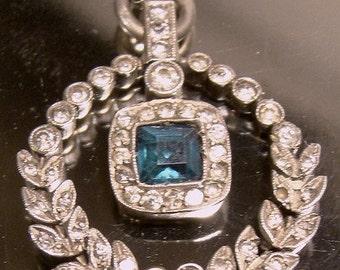 Edwardian STERLING Silver Sapphire & Clear Paste PENDANT Necklace 1910 Antique