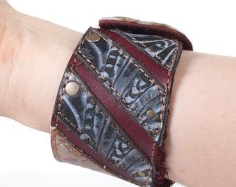 "Handmade Leather Cuff | Leather Bracelet | OOAK | Elven Cuff | Burgundy , Copper & Gray Floral | Brass | Size M | Fits 8"" Wrist"
