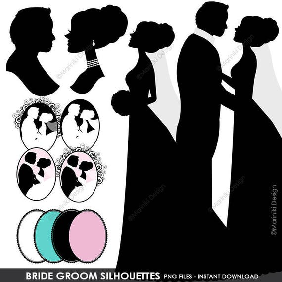 Bride Groom Silhouettes Clipart Wedding Couples Digital Scrapbook Craft Invitations INSTANT DOWNLOAD CLIPARTS C36 From