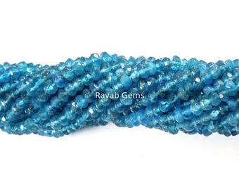 1 Strand Natural Neon Apatite Faceted Rondelle Beads ,Neon Apatite Beads, Neon Apatite Gemstone Rondelle Beads 3mm to 4mm