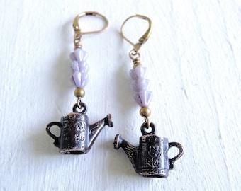 Lavender Fields Earrings Romantic Vintage Style Watering Can Earrings Cottage Garden Purple Flower Earrings Flower Garden Gift for Gardener