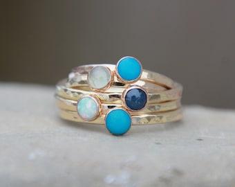 NATURAL BIRTHSTONE STACKING Ring - Pink Gold, Silver, Gold - Birthstone Stacking Ring - Birthstone Ring - Gemstone Ring - mother's ring