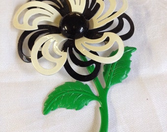 Vintage Black and White Flower Pin/ Brooch/ Sweater Pin