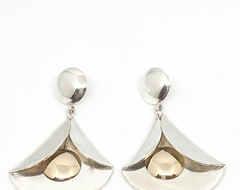 Sterling Silver and 14K Gold Earrings