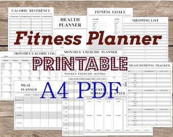 Fitness Planner, A4, PDF, Printable, BW. Black and white. Filofax Personal Inserts Undated. Grayscale. Instant Download.