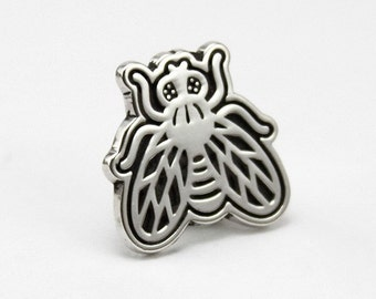 Sterling silver lapel pin / Fly tie tack / Urban jewelry.