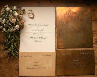 Vintage Wedding Announcement Copper Printing Plates - Vintage Wedding Decor