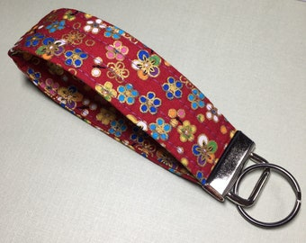 Quilted KeyFob - Red with Flowers PRICE INCLUDES SHIPPING within Canada
