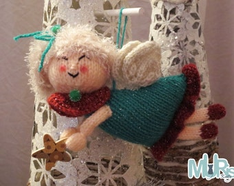 Christmas Knitting Pattern -Christmas Decorating Damsels Hanging Ornament