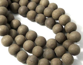Unfinished Graywood, 12mm, Dark Gray to Brown, Round, Smooth, Natural Wood Beads, 16 Inch Strand - ID 2164-DK