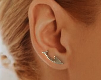 Sterling Silver, EarWing, Ear Climber, pair, TW33, Dolphin, Diving, Pair