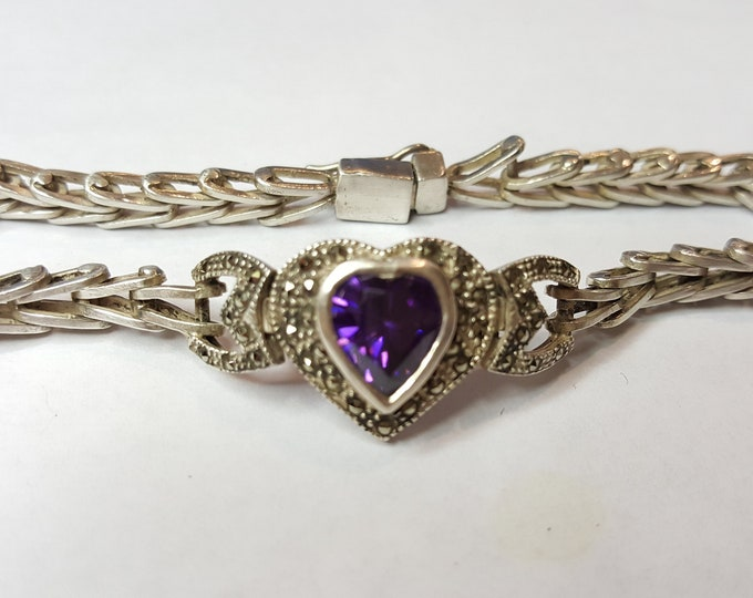 Marcasite Amethyst Sterling Silver Vintage Bracelet with Heart Hand Crafted Signed