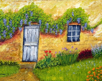 Wisteria Cottage, Oil painting, original art, OOAK, one of a kind, oil on canvas