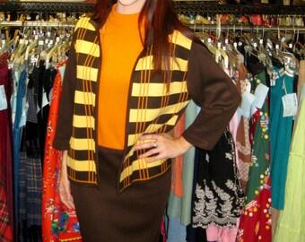 1960s Brown, Gold & Orange Knit Suit