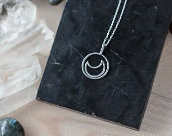 Moon phase, crescent moon, wiccan jewelry, inspirational, dainty necklace, pendant necklace, boho jewelry, layered necklace, silver pendant