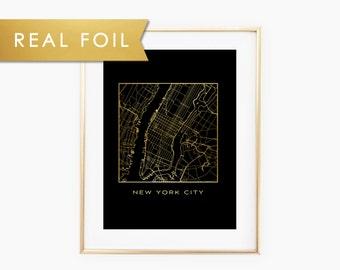 New York City, Manhattan Map - Real Gold Foil on Black Art Print