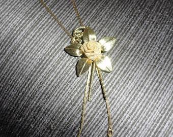 Vintage Gold Tone Wire Mesh Rose Floral Bolo Style Lariat Necklace Slider Pendant