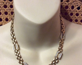 Vintage 1950's panther chain with rhinestones collar necklace .