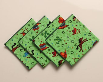 Lunch Box Napkins, Cowboy Napkins, Children's Napkins, Small Cloth Napkins, Set of 4 Party Napkins