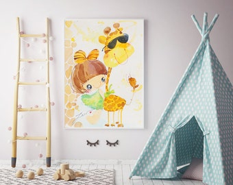 Girl and Giraffe-Kids Room Decor-Baby Girl Wall Art-Illustration-Children's Decor-Home Decor Wall Art -Watercolor Painting -Wall Art Nursery