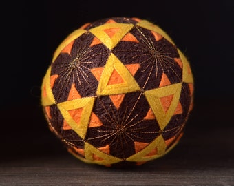 Temari ball Japanese traditional art Percussion musical instrument Shaker Home decor Unique gift Sphere Handmade ball Good Luck gift