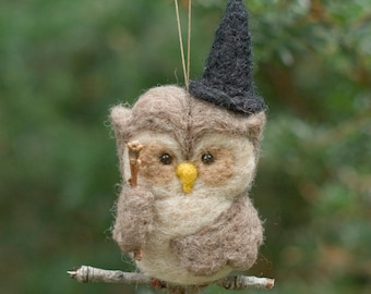 Needle Felted Owl Ornament - Witch