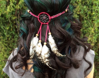 Dreamcatcher Feather Headband - Red Silver Dreamcatcher - Natural Feathers - Festival Fashion Headband - Rave Wear - Costume Accessories