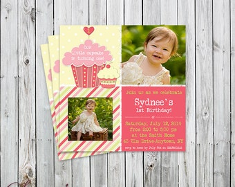 Little Cupcake - Two Photo Birthday Invitaiton