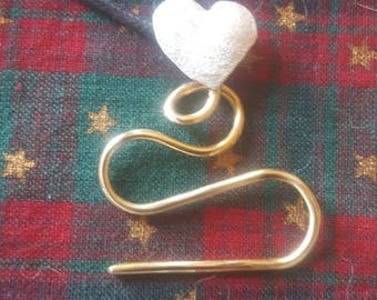 Sock Heart Cable Needle Necklace in Sterling and Bronze