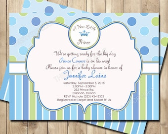 Baby boy shower invitation prince is coming a new little prince baby shower invitation prince shower invite baby boy blue and green personalized printed printable shower invite filmwisefo