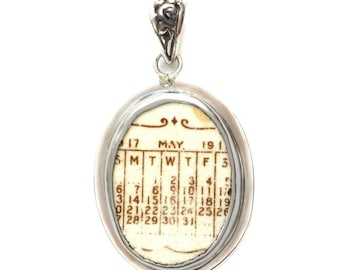 Broken China Jewelry Vintage 1917 May Calendar Sterling Oval Pendant