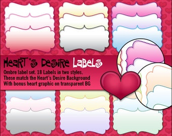 Ombre-Style Digital Label Set for Scrapbooking