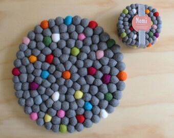 Felt Ball Coasters // Set of 4 // Rainbow Polkadot