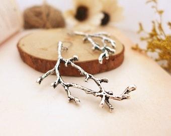 Silver Twig Earrings, Tree Branch Earrings, Silver Bohemian Earrings, Silver Dangle Earrings, Large Statement Earrings, Silver Drop Earrings