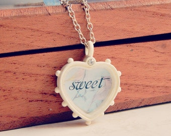 Elena - Sweetheart necklace - vintage style necklace - sweet necklace - blue opal crystal necklace - valentines day jewelry
