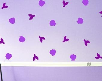 Purple Bathroom Decals. Beach Decals. Wall Decor. Mermaid Decals. Mermaid Tail Decals. Nursery wall decal. Wall sticker. Home decor decals.