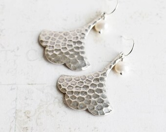 Silver Ginkgo Earrings, Antiqued Silver Plated Leaf Earrings with White Pearl, Leaf Dangle Earrings, Nature Jewelry