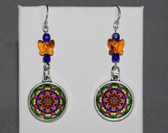 Chakra Mandala Earrings Petite Pansy Boho Chic Sacred Geometry Hippie Kaleidoscope Gypsy Zen Unique Gift For Her Exuberant  Reminiscence